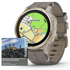 Garmin Fenix 6S PRO Sapphire, Gold/Suede Band (MAP/Music)