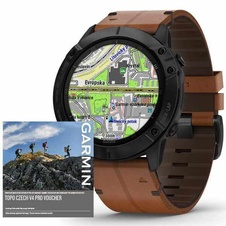 Garmin Fenix 6X PRO Sapphire, BlackDLC/BrownLeather Band (MAP/Music)